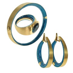 Blue Topaz Colored Enamel 18 Karat Yellow Gold Ring Earrings Bangle Suite
