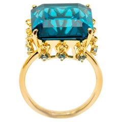 Blue Topaz Crown Vermeil Gold Ring