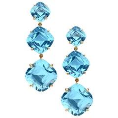 Goshwara Cushion Blue Topaz Earrings