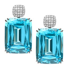 Blue Topaz Cushion Earrings with Diamond Motif