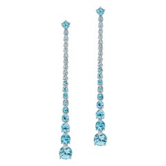 JAG New York Blue Topaz Dangle Earrings set in Platinum