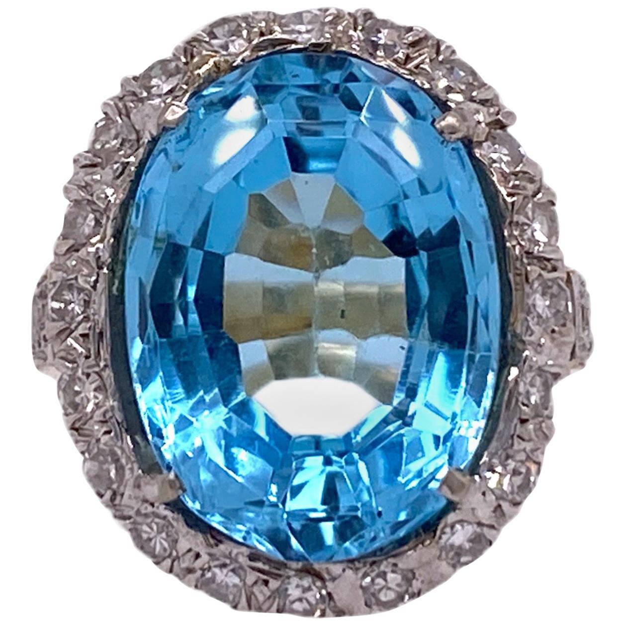 Blue Topaz Diamond 14 Karat Two-Tone Right Hand Ring