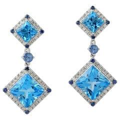 Blue Topaz Diamond 18 Karat Gold Earrings