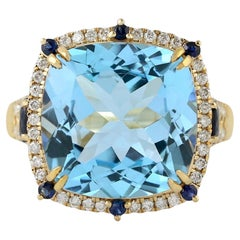 Blue Topaz Diamond 18 Karat Gold Ring