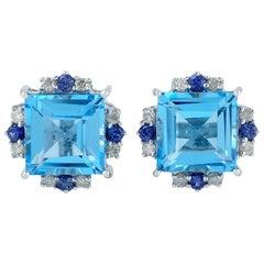 Blue Topaz Diamond 18 Karat Gold Stud Earrings