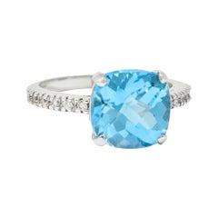 Blue Topaz Diamond 18 Karat White Gold Gemstone Ring