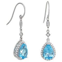 Blue Topaz Diamond Drop Earrings Estate 14 Karat Gold Pear Cut Fine Jewelry