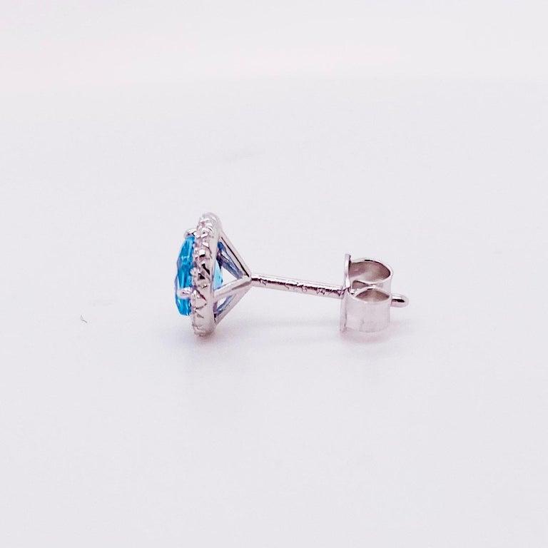 Modern Blue Topaz Diamond Earring Diamond Halo Swiss Blue Topaz Stud Earrings For Sale