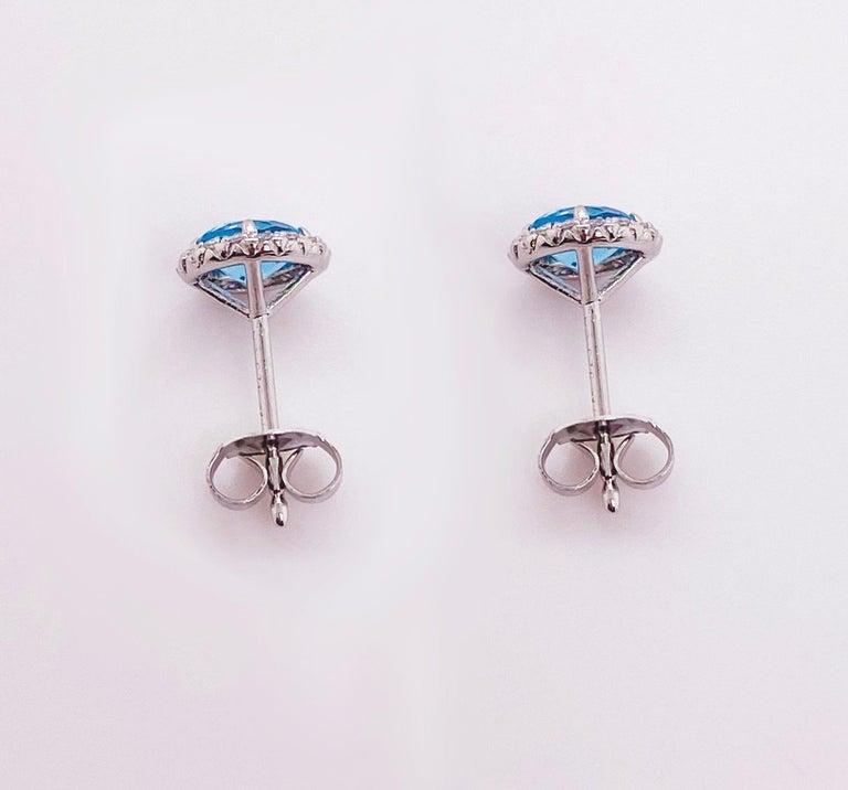 Round Cut Blue Topaz Diamond Earring Diamond Halo Swiss Blue Topaz Stud Earrings For Sale