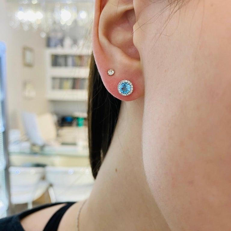 Blue Topaz Diamond Earring Diamond Halo Swiss Blue Topaz Stud Earrings In New Condition For Sale In Austin, TX