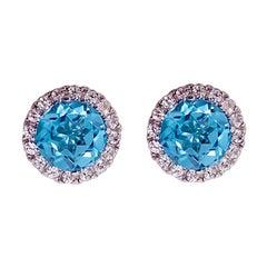Blue Topaz Diamond Earring Diamond Halo Swiss Blue Topaz Stud Earrings