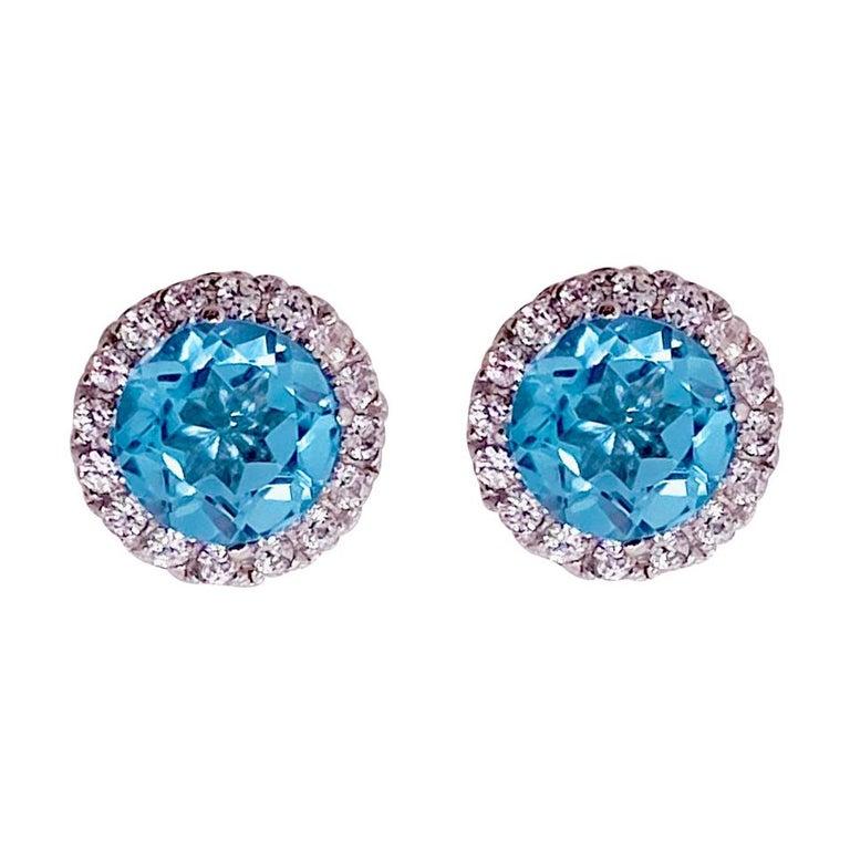Blue Topaz Diamond Earring Diamond Halo Swiss Blue Topaz Stud Earrings For Sale