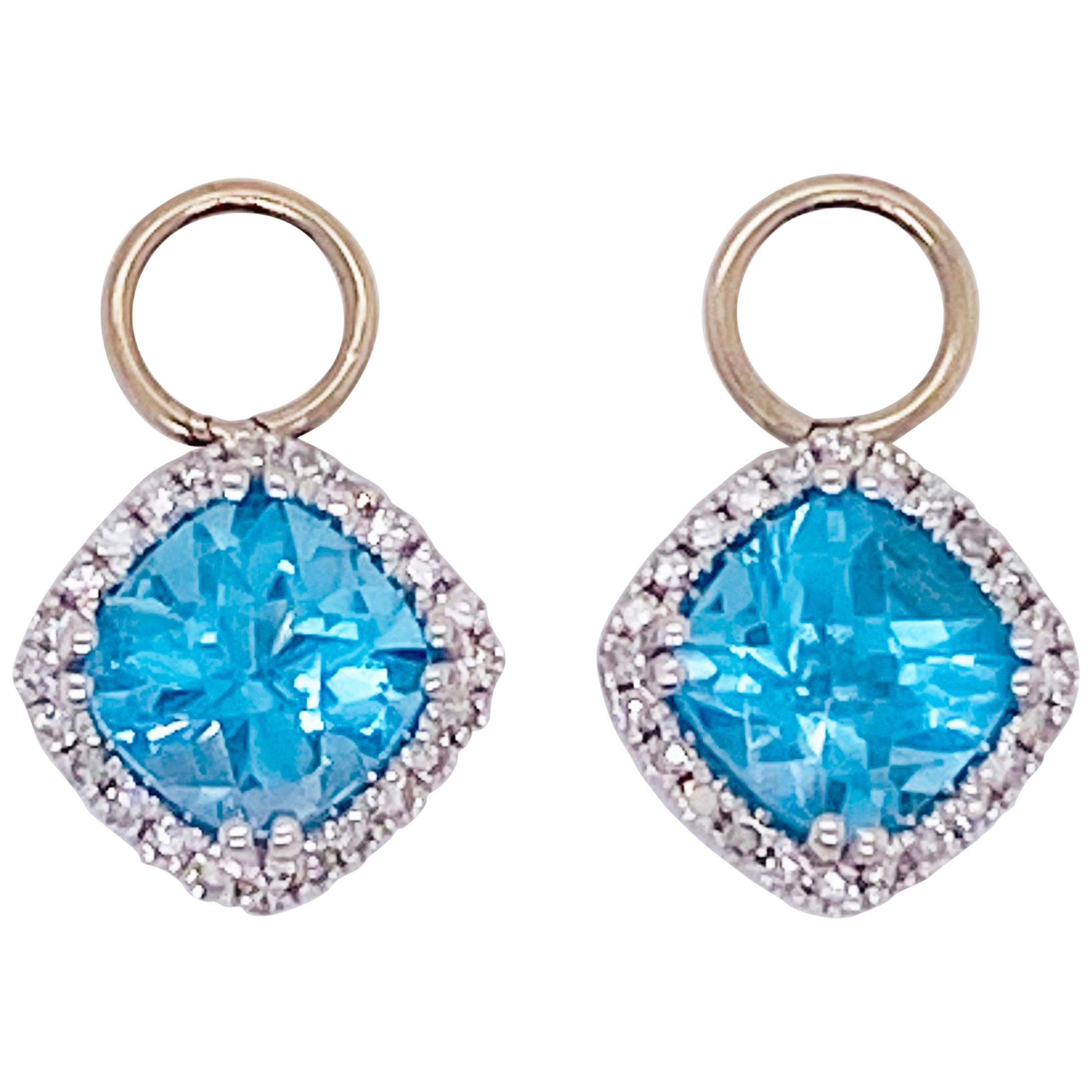 Blue Topaz & Diamond Halo Earring Charms 14 Karat Gold 1/2 Carat Hoop Charm Set