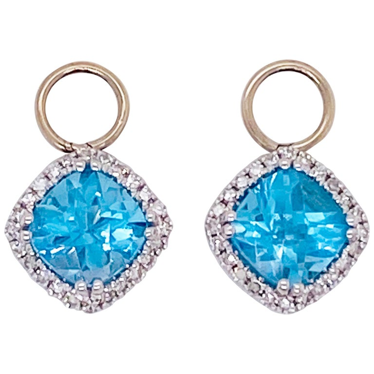 Blue Topaz & Diamond Halo Earring Charms 14 Karat Gold 1/2 Carat Hoop Charm Set For Sale