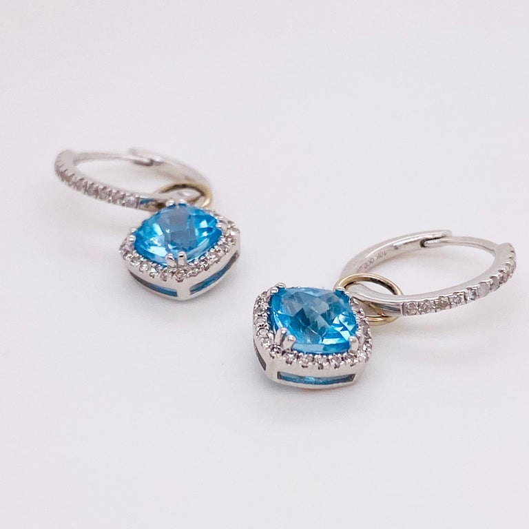 Modern Blue Topaz & Diamond Halo Earring Charms 14 Karat Gold 1/2 Carat Hoop Charm Set For Sale