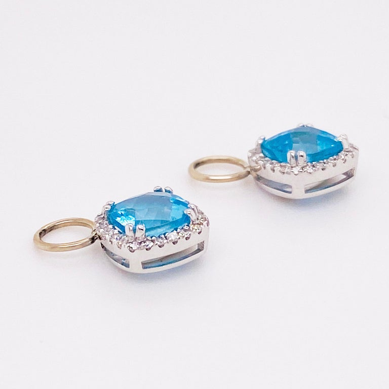 Cushion Cut Blue Topaz & Diamond Halo Earring Charms 14 Karat Gold 1/2 Carat Hoop Charm Set For Sale