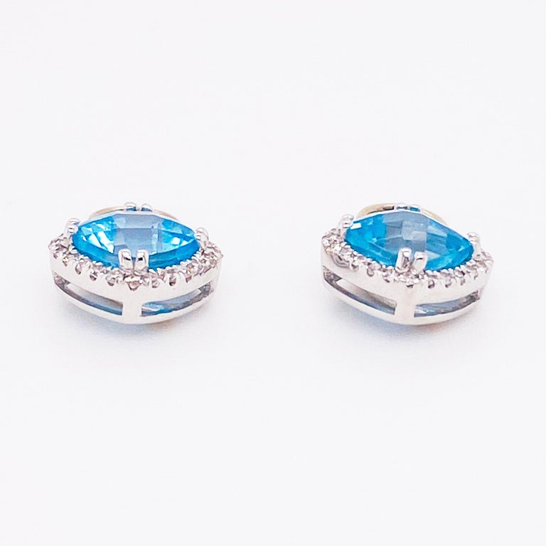 Blue Topaz & Diamond Halo Earring Charms 14 Karat Gold 1/2 Carat Hoop Charm Set In New Condition For Sale In Austin, TX
