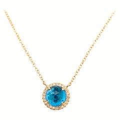 Blue Topaz Diamond Halo Necklace, 1.47 Carats Diamond and Royal Blue Topaz