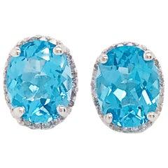 Blue Topaz & Diamond Halo Stud Earrings, 14K Gold Diamond and Gemstone Earrings