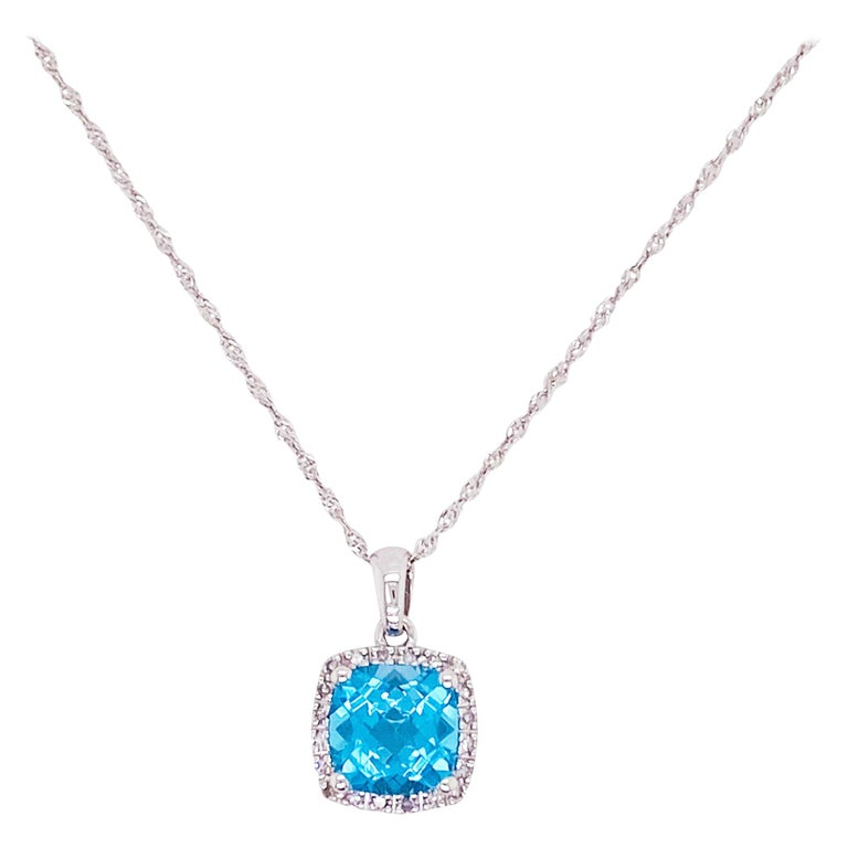Blue Topaz Diamond Necklace, White Diamond, 14 Karat Gold, 14 Karat, Pendant For Sale
