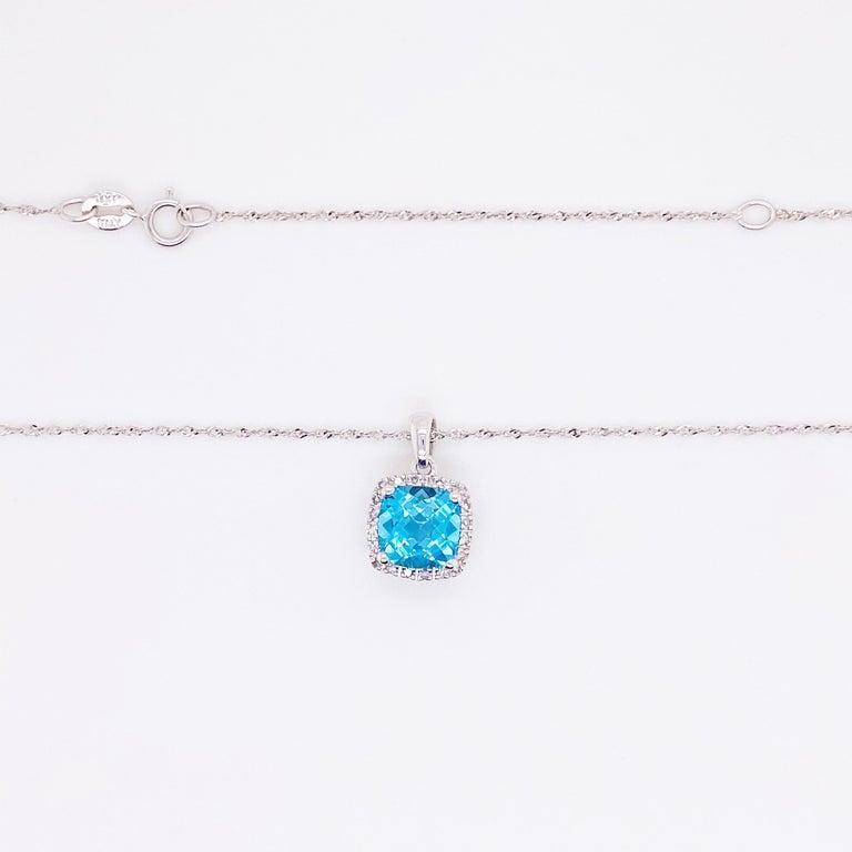 Modern Blue Topaz Diamond Necklace, White Diamond, 14 Karat Gold, 14 Karat, Pendant For Sale