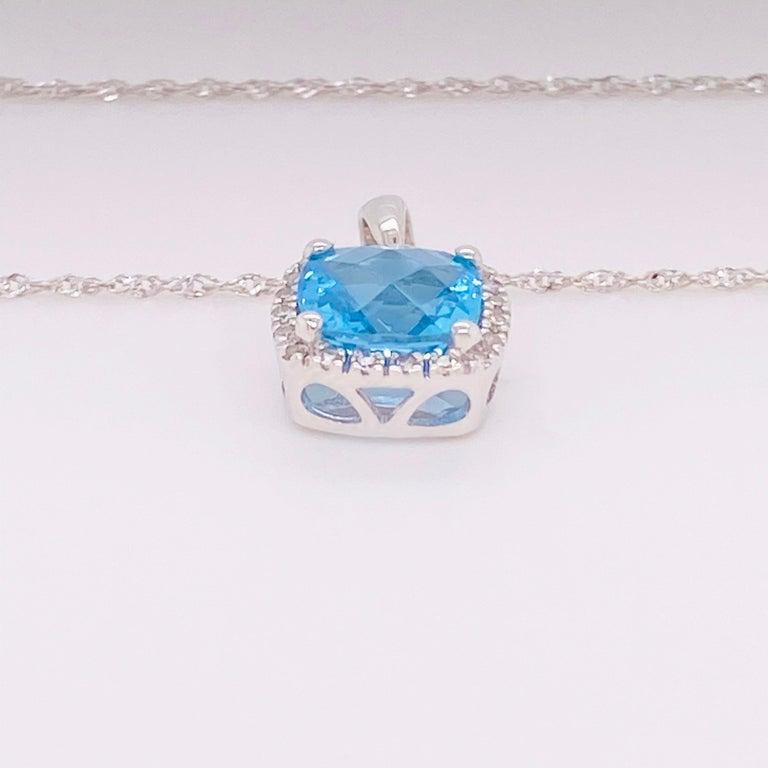 Cushion Cut Blue Topaz Diamond Necklace, White Diamond, 14 Karat Gold, 14 Karat, Pendant For Sale