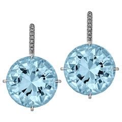 Blue Topaz Diamond Platinum Drop Earrings