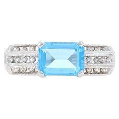 Blue Topaz & Diamond Ring, 14k White Gold Milgrain 2.37ctw