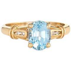 Blue Topaz Diamond Ring Vintage 14 Karat Yellow Gold Small Cocktail Jewelry