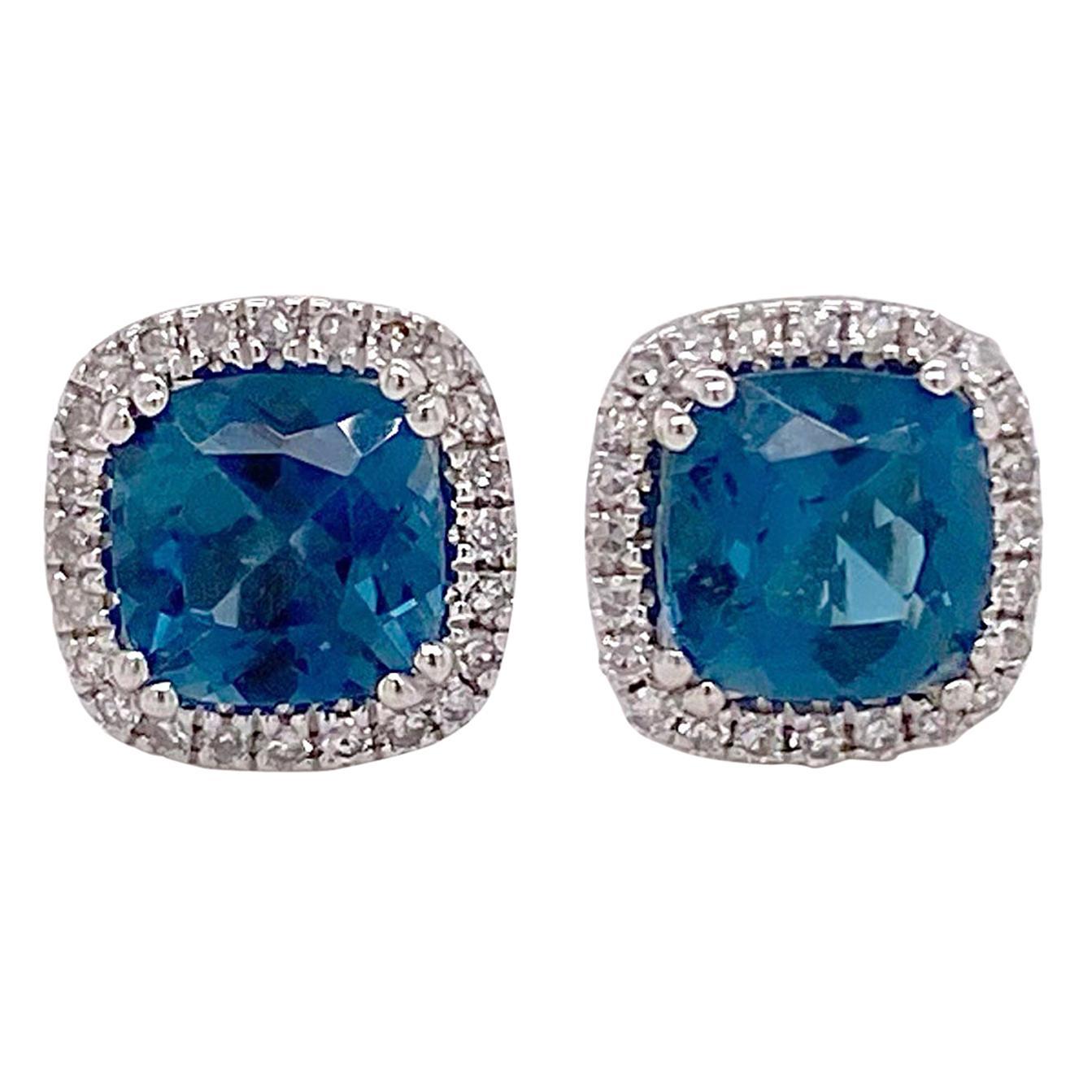 Blue Topaz Diamond Studs Earrings, Halo of Diamonds, White Gold, Cushion Topaz