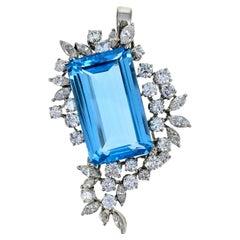 Blue Topaz Diamond White Gold Pendant