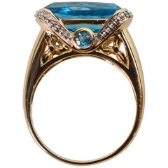 Blue Topaz Diamond Yellow Gold Solitaire Ring