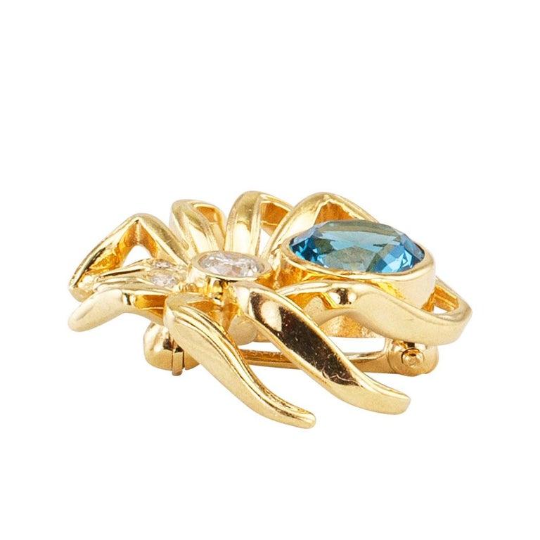 Modern Blue Topaz Diamond Yellow Gold Spider Brooch For Sale