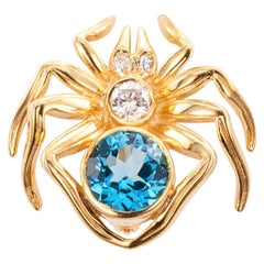 Blue Topaz Diamond Yellow Gold Spider Brooch