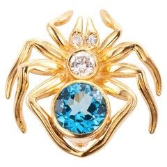 Blue Topaz Diamond Yellow Gold Spider Brooch