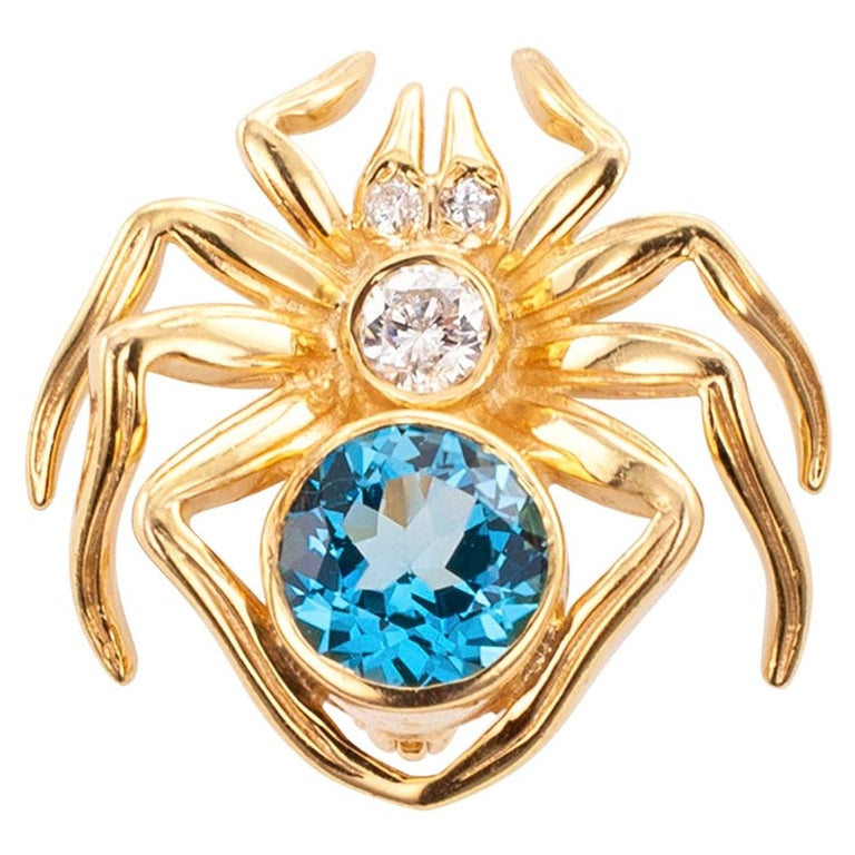 Blue Topaz Diamond Yellow Gold Spider Brooch For Sale