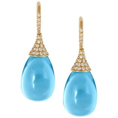 Blue Topaz Drops Earrings with Diamonds