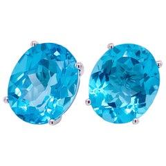 Blue Topaz Earrings, 14 Karat White Gold Large Oval Blue Stud Earrings, Big Gem