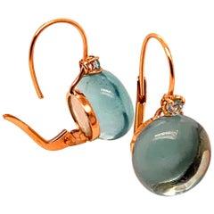 Blue Topaz Earrings Mounted Pink Gold 18 Karat