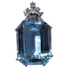 Blue Topaz Emerald Cut 18 Karat White Gold Diamonds Pendant