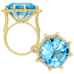 Blue Topaz Emerald Cut Asscher Ring