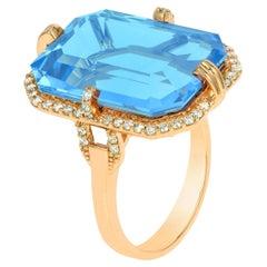 Goshwara Emerald Cut Blue Topaz And Diamond Ring