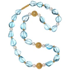 Blue Topaz, Gold Bead and Freshwater Pearl Necklace