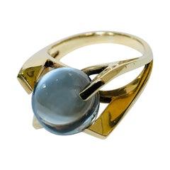 Blue Topaz Gold Orb Ring, 9 Karat Gold