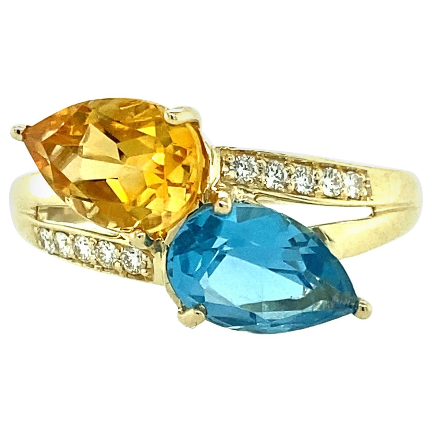 Blue Topaz, Golden Citrine and Diamond Ring