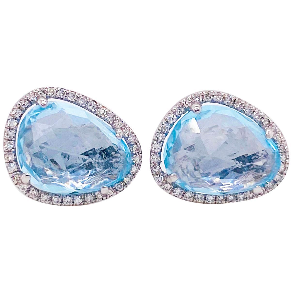 Blue Topaz Halo Earrings with Diamonds Bean Shape Organic Stud Earrings