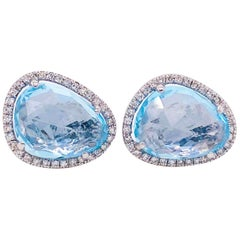 Blue Topaz Halo Earrings with Diamonds Bean Shape Organic Stud Earrings