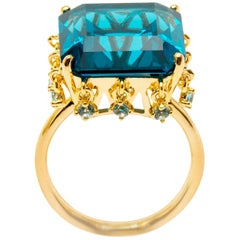 Ammanii Blue Topaz Statement Vermeil Gold Cocktail Ring