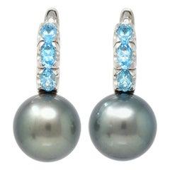 Blue Topaz Hoop Earring with Tahitian Pearl in 18 Karat Gold