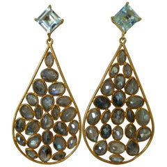 Blue Topaz Labradorite 14K Gold Plated on 925 Sterling Silver Earrings